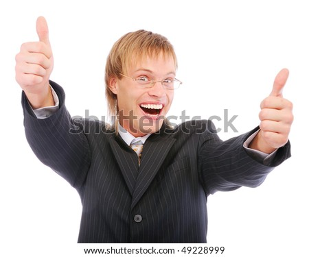 Portrait of a excited business man showing a success sign, isolated on white background. - stock photo