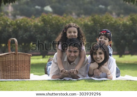 Portrait of a family - stock photo
