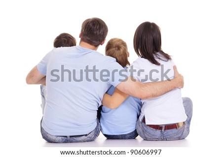 portrait of a family backs on white - stock photo