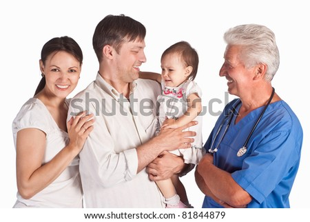 portrait of a family with a doctor