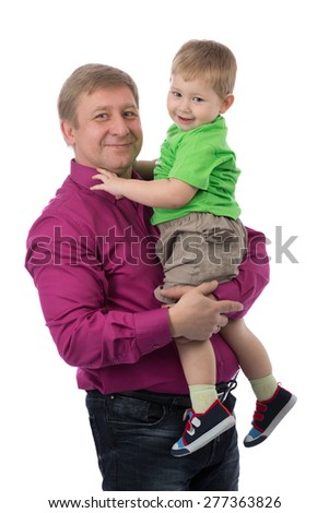 Portrait of a father with a 3-year-old son in the studio. Isolate on white. - stock photo