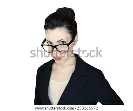 Portrait of a fed up employee woman isolated on white background. - stock photo