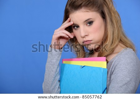 Portrait of a fed-up student - stock photo