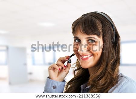 Portrait of a female customer representative at work  - stock photo