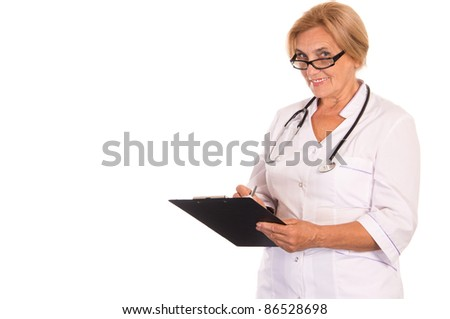 portrait of a female doctor on white
