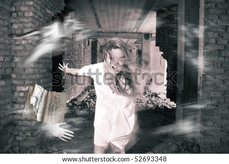 Portrait of a female ghost - stock photo