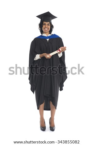 Portrait of a female graduate with her diploma - stock photo