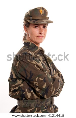 Portrait of a female soldier against a white background