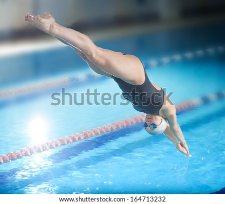 Portrait Female Swimmer That Jumping Diving Stock Photo