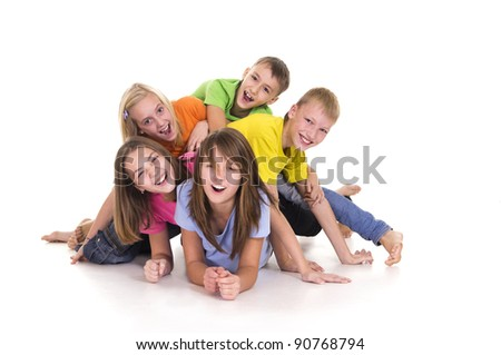 portrait of a five happy kids posing on white - stock photo