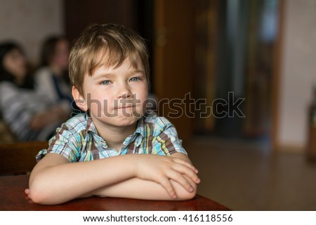 Portrait of a five year old boy. - stock photo