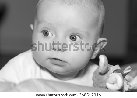 Portrait of a four months old baby boy black and white caucasian - stock photo