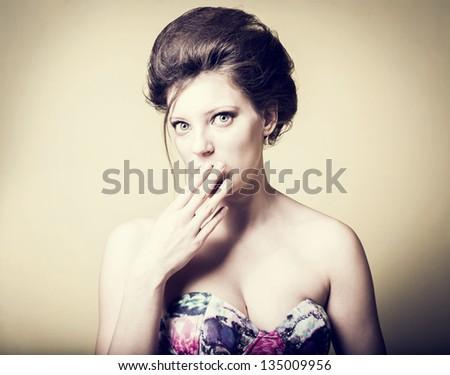 Portrait of a fresh beautiful fashion sexy mod - stock photo