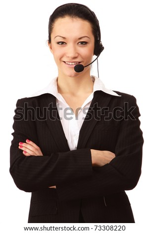 Portrait of a friendly customer service girl with a headset - stock photo