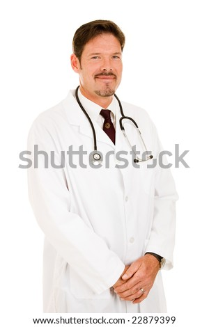 Portrait of a friendly handsome doctor in his lab coat.  Isolated on white. - stock photo