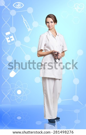 Portrait of a friendly smiling female doctor  - stock photo
