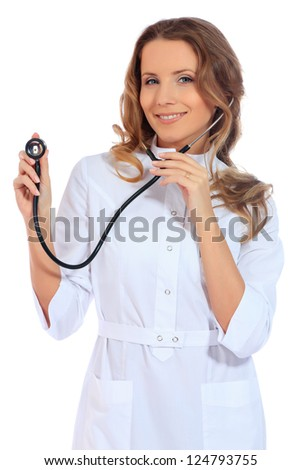 Portrait of a friendly woman doctor. Isolated over white background.