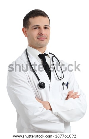 Portrait of a friendly young doctor man isolated on a white background               - stock photo
