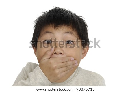 Portrait of a frightened boy. - stock photo