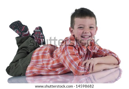Portrait of a funny child  on a white background - stock photo