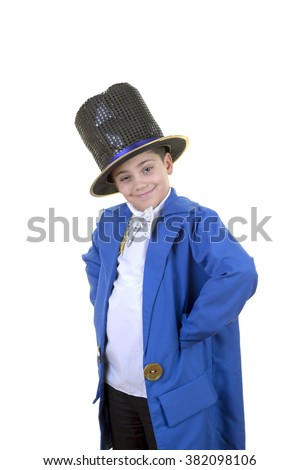 Portrait of a funny little boy in mad hatter costume while posing to the camera against isolated white background. - stock photo