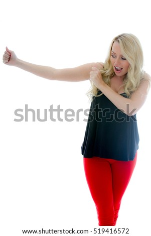 Portrait of a Girl Dancing Against a White Background With Copy Space