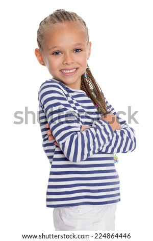 Portrait of a girl dressed as a cabin boy. Girl is six years old.  - stock photo