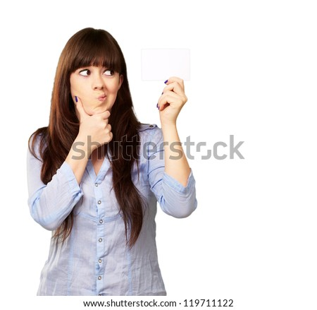 Portrait Of A Girl Holding And Making A Pout On White Background - stock photo