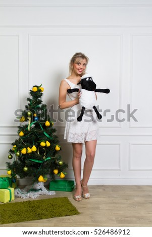 Portrait of a girl in a Christmas interior