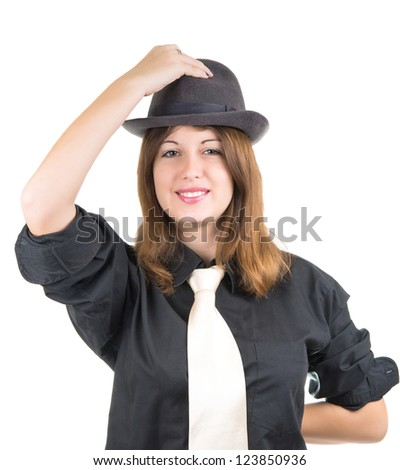 portrait of a girl in a hat isolated on white background