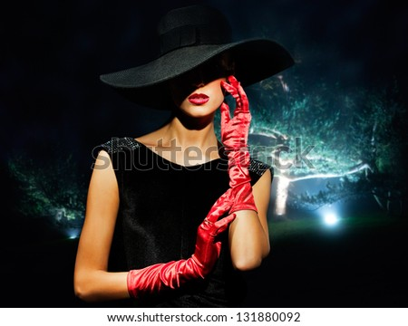 portrait of a girl in a landscape - stock photo
