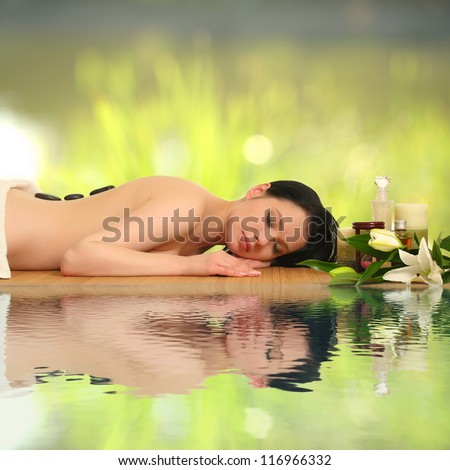 portrait of a girl in a spa - stock photo