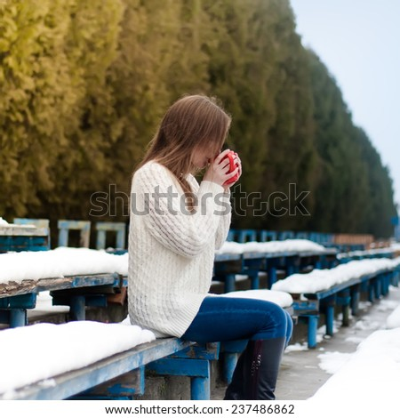 Portrait of a girl in a winter park - stock photo