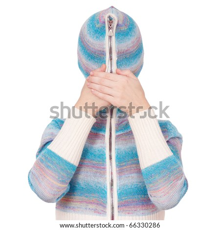 Portrait of a girl in cardigan with a hood with no face