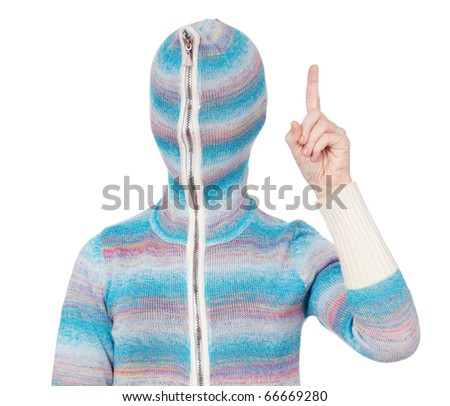 Portrait of a girl in cardigan with a hood with no face. Attention.