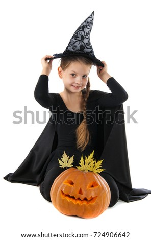 Portrait Girl Carnival Costume Witch Girl Stock Photo 724906642 ...