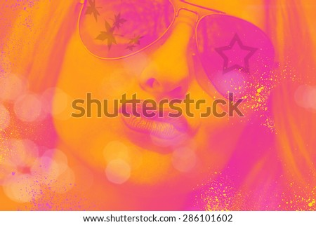 portrait of a girl in sunglasses in the style of pop art, photography - stock photo