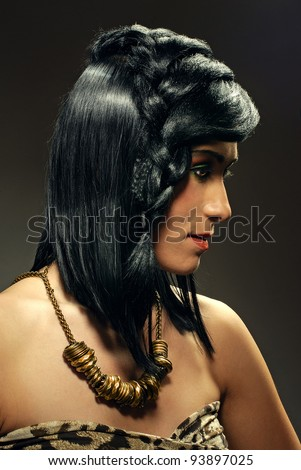 portrait of a girl in the style of the Stone Age