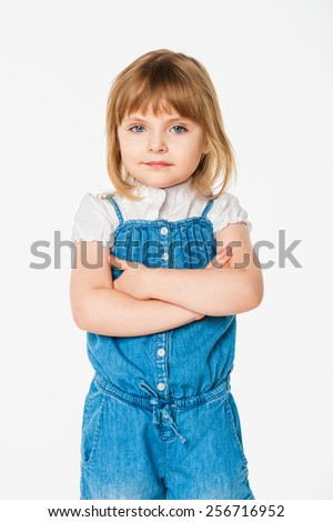 Portrait of a girl , on a gray background - stock photo