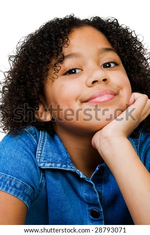 Portrait of a girl smirking isolated over white