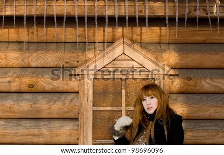 Portrait of a girl walking in country side - stock photo