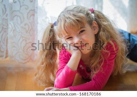portrait of a girl who is bored - stock photo