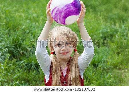 portrait of a girl with a ball - stock photo