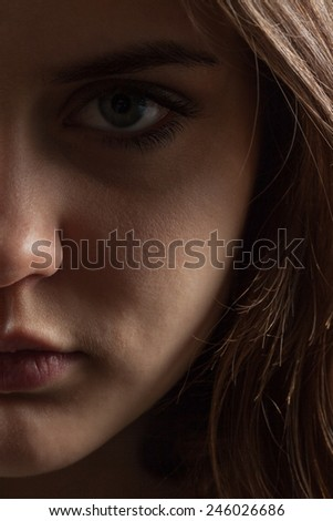 portrait of a girl with a deep look. Half face