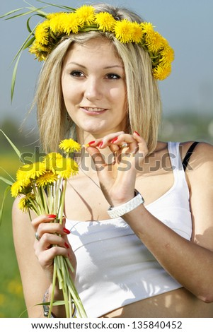 portrait of a girl with a wreath from dandelions on a head