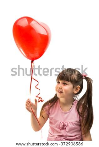 portrait of a girl with red heart balloon on a white background