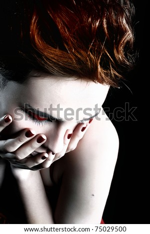 portrait of a girl with red nails - stock photo