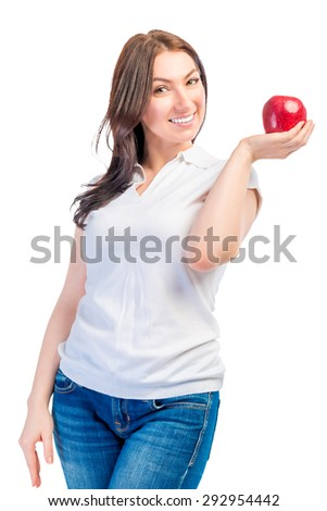 portrait of a girl with red ripe apples on a white background - stock photo