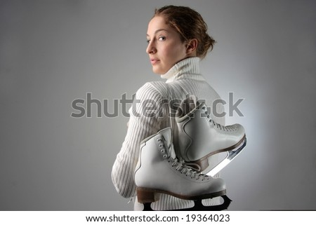 portrait of a girl with skate - stock photo