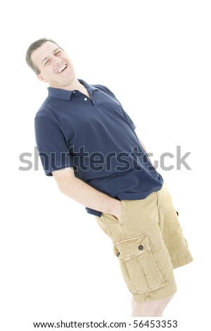 Portrait of a good looking man laughing - stock photo